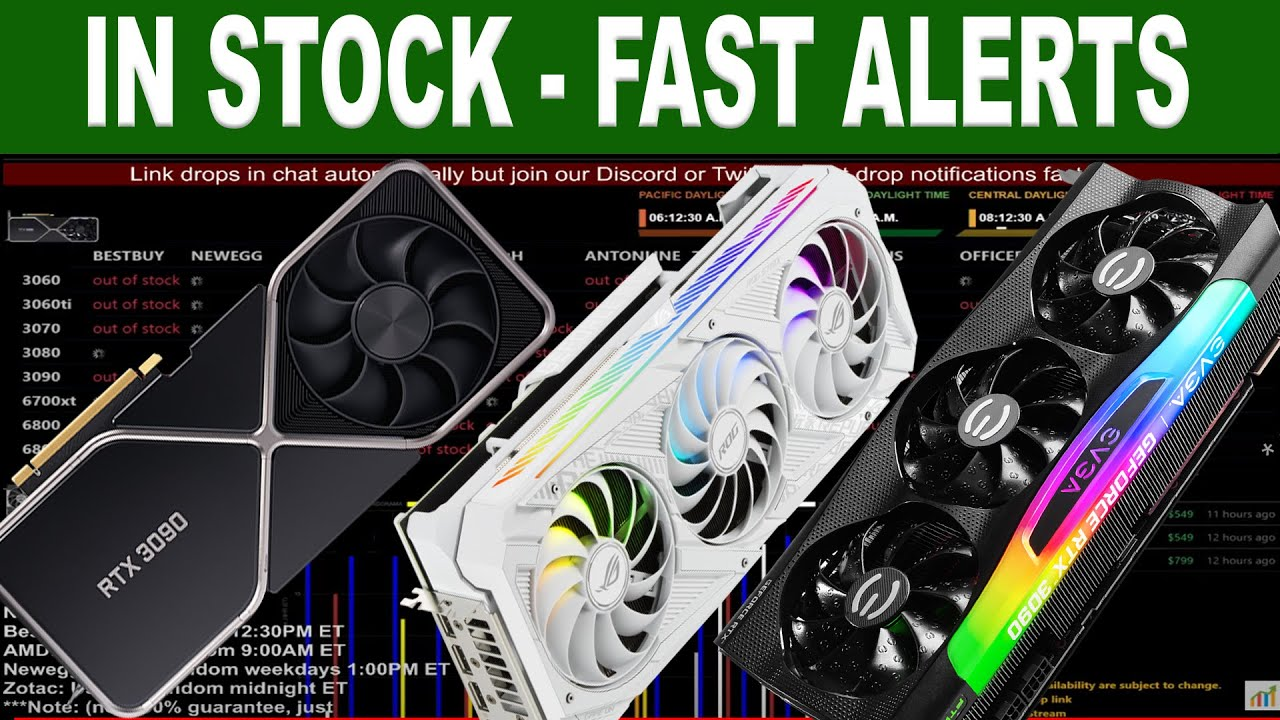 24/7 Live stock alert for RTX 3060/TI/3070/3080/3090 6700/6800/XT/6900XT with sound for USA stores