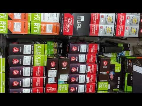 The walls are coloured full of RTX 3070 Ti GPUs in Stock and AMD RX 6800 GPUs in Stock!