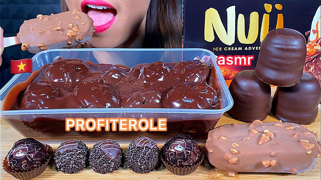 EATING CHOCOLATE PROFITEROLE, NUII ICE CREAM BAR, FERRERO RONDNOIR & CHOCOLATE MARSHMALLOW ASMR
