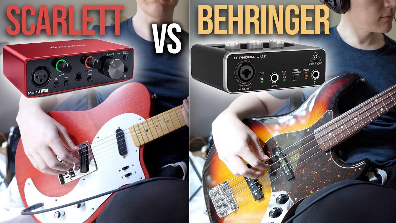 Focusrite Scarlett Solo (3rd Gen) vs Behringer U-Phoria UM2 | Guitar and Bass Examples