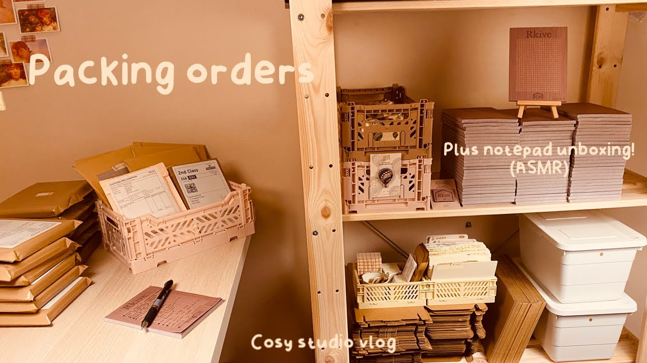 Packing orders and unboxing new notepads | cosy studio vlog | order packing ASMR