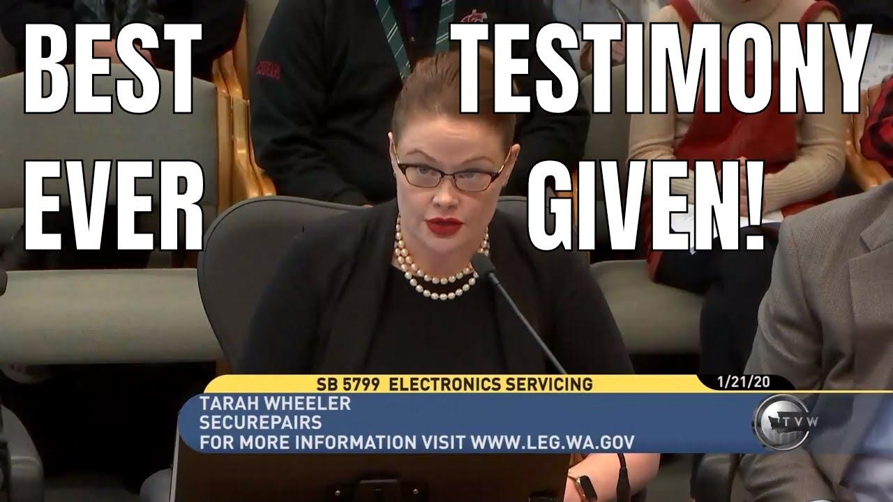 GANGSTER right to repair Testimony by Tarah Wheeler of Securepairs
