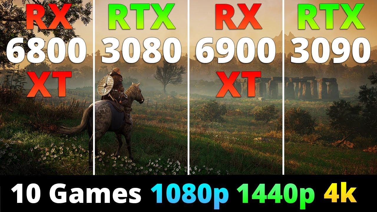 RX 6800 XT vs RTX 3080 vs RX 6900 XT vs RTX 3090 - Performance Comparison 10 Games 1080p 1440p 4k